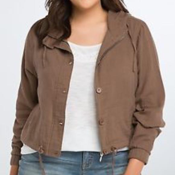 900eef2d9392d Torrid Size 0X Cropped Anorak Jacket Brown Zip Up